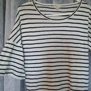 NWOT Madewell Striped Ruffle Sleeve Cotton Top